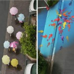 رسوم تظهر فى شوارع مع نزول الامطار