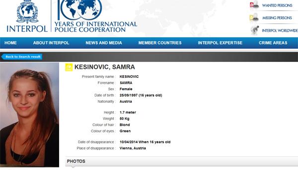 نشرة الانتربول عن سامرا كيزينوفيك
