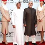 نصر الدين شاه على السجادة الحمراء لمهرجان دبي السينمائي الدولي مع رئيس المهرجان الأستاذ عبد الحميد جمعة