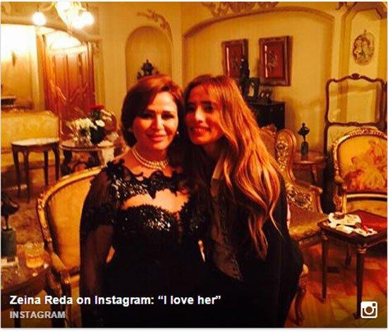 زينة مع الهام شاهين فى حفل عيد ميلادها