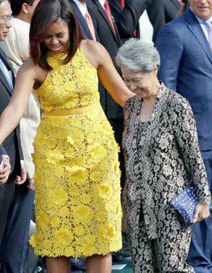 زوجة رئيس وزراء سينغافورة مع ميشيل أوباما