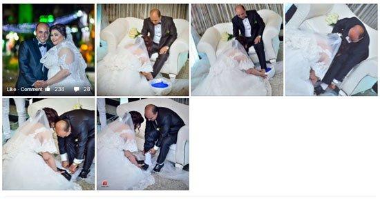 عروس تغسل اقدام عريسها