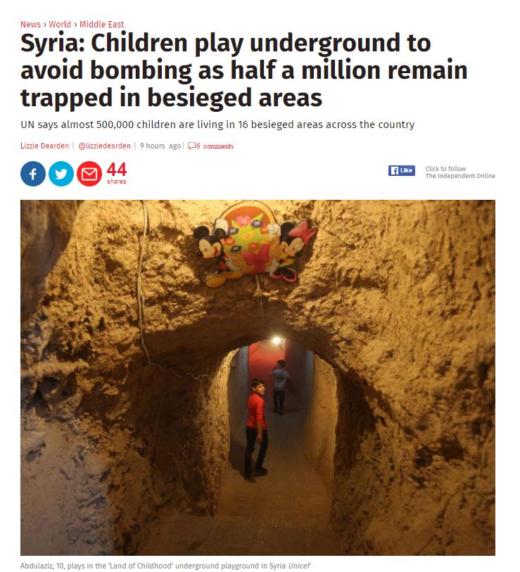 موضوع الاندبندنت عن ملاهى تحت الارض فى سوريا